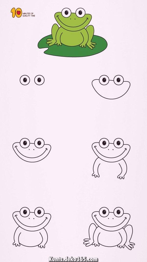 Wie Den Frosch Pro Die Kinder Etappenweise Zu Zeichnen Design
